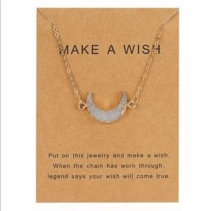Jewelry - Make A Wish Crescent Moon Druzy Necklace